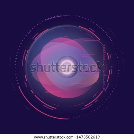 AI technology concept. Futuristic artificial intelligence representation. Camera aim with circles and glowing, data and digits. Digital ai vector illustration. Computer communication interface. Stok fotoğraf ©