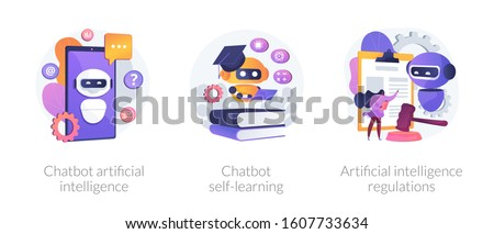 AI technology, smart chat bot. Machine learning. Chatbot artificial intelligence, chatbot self-learning, artificial intelligence regulations metaphors. Vector isolated concept metaphor illustrations.