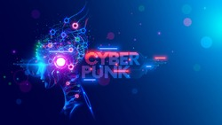 AI. Woman Cyborg head with artificial neural networks brain. Neon cyberpunk word in style 80th. Female robot face with computer artificial intelligence. Electronic Technology banner in 80th cyberpunk