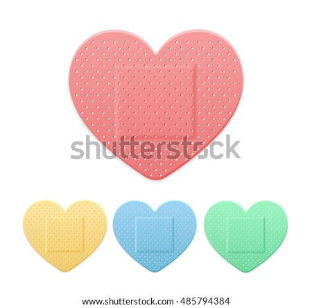Aid Band Plaster Strip Medical Patch Heart Color Set. Four plasters hearts pink, blue, green and yellow collection. Vector illustration