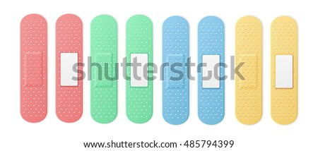 Aid Band Plaster Strip Medical Patch Set Color. Four plasters two sides pink, blue, green and yellow collection. Vector illustration
