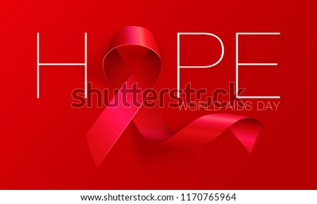 Aids Awareness. World Aids Day concept. Hope. Red Ribbon. Vector illustration EPS10