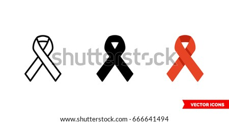 AIDS ribbon icon of 3 types: color, black and white, outline. Isolated vector sign symbol.