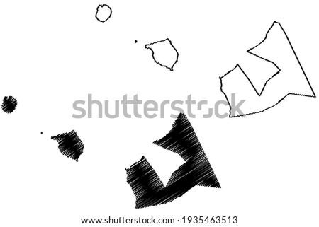 Aiga-i-le-Tai District, Upolu, Manono, Apolima island (Independent State of Samoa, Western Samoa) map vector illustration, scribble sketch Aiga-i-le-Tai map
