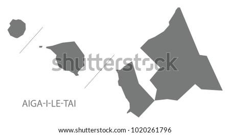 Aiga-i-le-Tai map of Samoa grey illustration