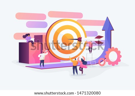 Aim achievement, motivation and success. Career development strategy. Goals and objectives, business grow, business plan, goal setting concept. Vector isolated concept creative illustration