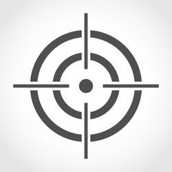 Aim icon in flat design. Vector illustration. Gray aim sign on light background