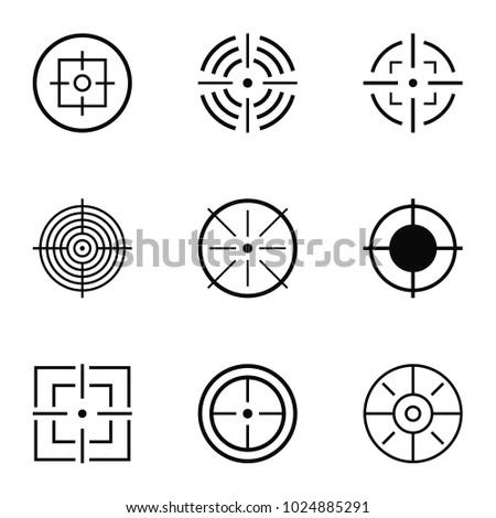 aim icons set simple set of 9