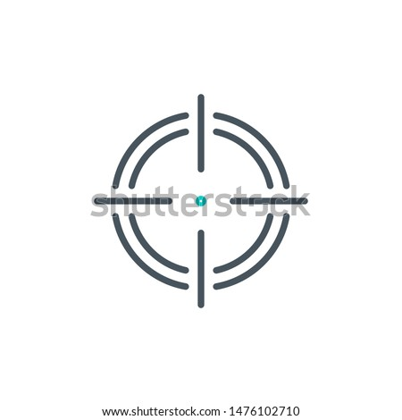 aim right on target outline flat icon. Single high quality outline logo symbol for web design or mobile app. Thin line sign design logo. Black and blue icon pictogram isolated on white background ストックフォト ©