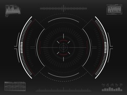 Aim system. Futuristic aiming concept. Modern crosshair. Sci-fi HUD interface. UI with infographic elements. Spaceship screen concept. Vector illustration.