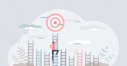 Aim to target and climbing stairs to reach business goal tiny persons concept. Ambitions and determination to get best opportunity and achievement vector illustration. Leadership effort and vision.