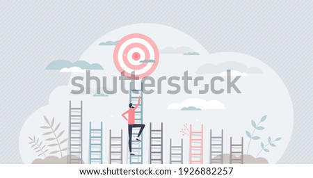 Aim to target and climbing stairs to reach business goal tiny persons concept. Ambitions and determination to get best opportunity and achievement vector illustration. Leadership effort and vision. Foto stock ©