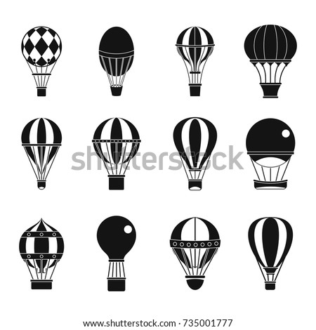 Air ballon icon set. Simple set of air ballon vector icons for web design isolated on white background