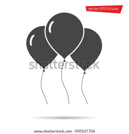 Air Balloon icon isolated. Modern simple flat birthday baloon sign. Celebration, internet concept. Trendy vector helium ballon symbol for website, web button, mobile app. Logo illustration.