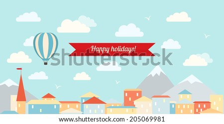 Air balloon in the cloudy sky, flying over the city. Flat vector illustration.