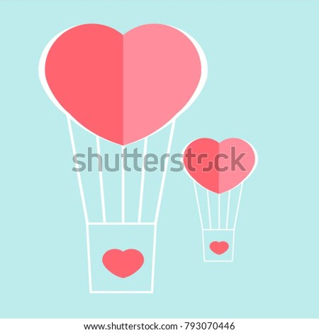 air balloon in the sky. Greeting card for Birthday or st. Valentinas day. Cartoon design. #793070446