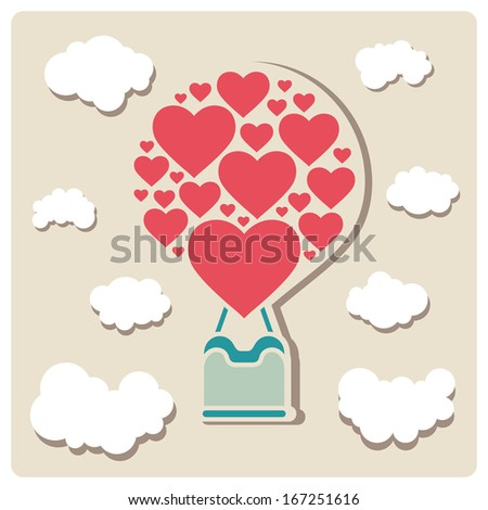 air balloon romantic vector