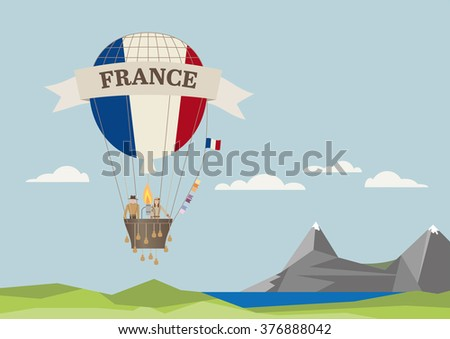 Air Balloon with French flag and people