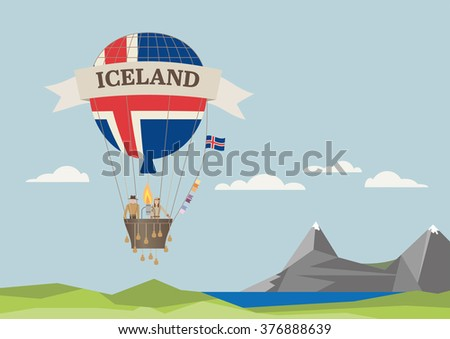 air balloon with icelandic flag