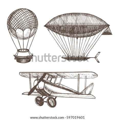 Air Balloons and Airships Hand Draw Sketch. Transport Vintage Style Design. Vector illustration