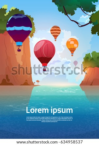 Stock Photo Air Balloons Flying Over Summer Sea Landscape Mountain Rocks Blue Water Flat Vector Illustration