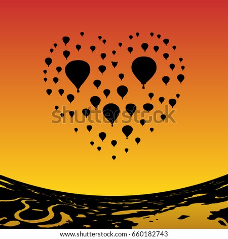 air balloons in shape of heart