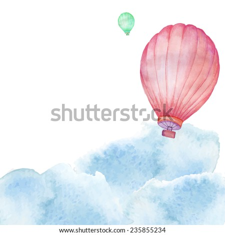 air balloons in watercolor