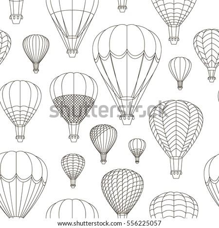 Air Balloons set pattern. Vector illustration, EPS 10