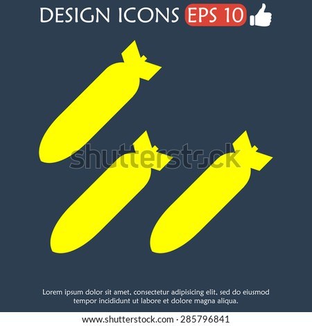 air bomb vector icon flat