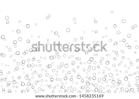 Air bubbles, oxygen, champagne crystal clear, isolated on white background modern design. Vector illustration EPS 10.