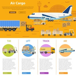 Air cargo infographics with flat Icons Set like truck, delivery, airport, tug and forklift vector illustration