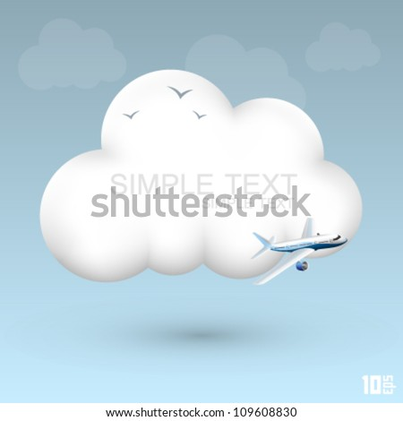 air cloud plane icon  cloud 3d
