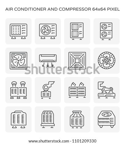 Air conditioner and air compressor icon set, 64x64 perfect pixel and editable stroke.