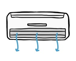 air conditioner and air flow / cartoon vector and illustration, hand drawn style, isolated on white background.