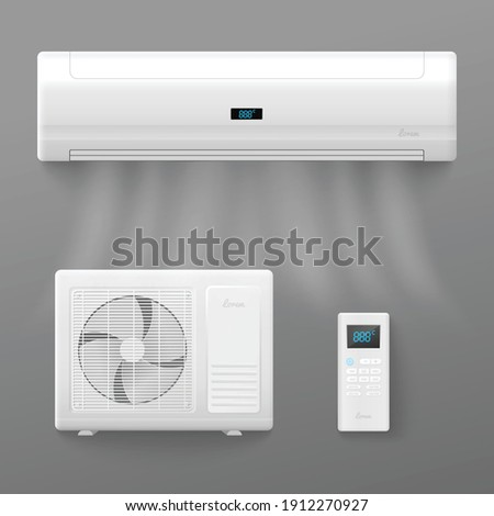 Air conditioner and split air control system templates set, realistic vector illustration isolated on grey background. Air conditioning appliances collection.