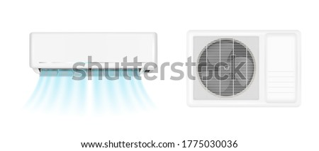 Air conditioner handing on wall and conditioning ventilator on window. Vector realistic mockup of split system for climate control with cold wind flows. Aircon isolated on white background ストックフォト ©