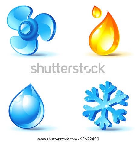 air-conditioner icons - blow, cold, heat, moisture