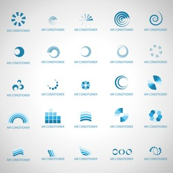 Air Conditioner Icons Set - Isolated On Gray Background - Vector Illustration, Graphic Design Editable For Your Design