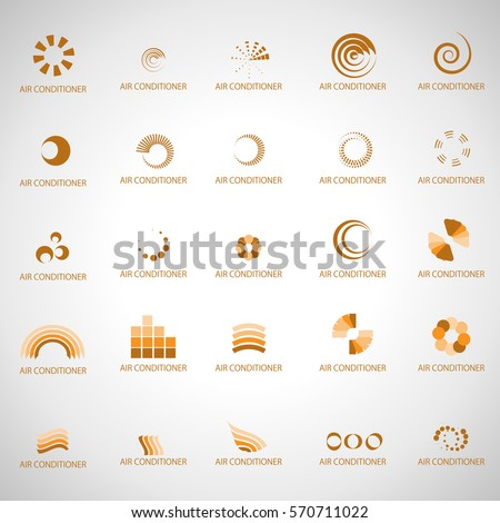 Air conditioner Icons Set-Isolated On Gray Background.Vector Illustration,Graphic Design.For App,Web Site,Print,Presentation Templates,Mobile Applications And Promotional Materials.Collection Of Vents