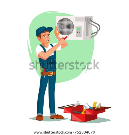 Air Conditioner Repair Service Vector. Young Man Repairing Air Conditioner. Cartoon Character Illustration