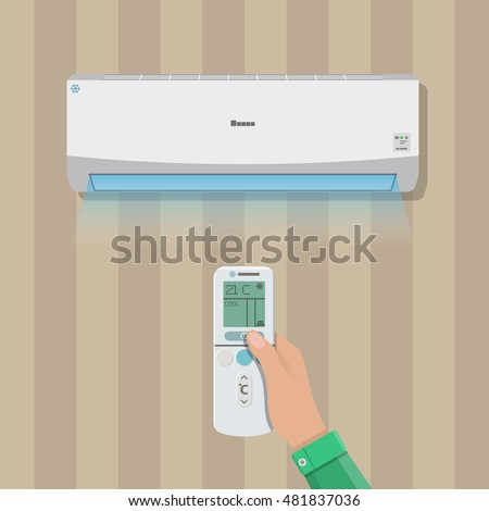 Air conditioner system. hand with remote control and internal unit on wall. vector illustration in flat style
