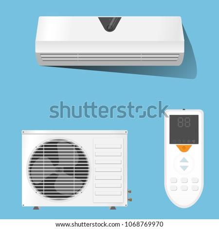 Air conditioner system set vector illustration on blue background