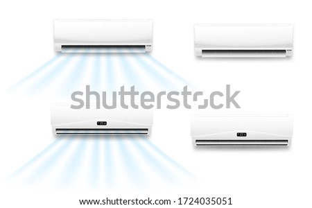 Air conditioner vector mockups with cold or hot wind flow. Realistic air conditioning split system indoor units with opened horizontal louvers and display panels, climate control for home or office Stockfoto ©