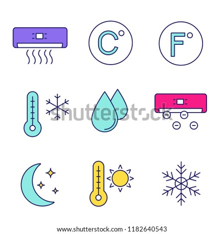 Air conditioning color icons set. Conditioner, Celsius, Fahrenheit, winter and summer temperature, water drop, ionizer, night mode, snowflake. Isolated vector illustrations