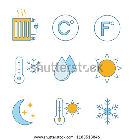 Air conditioning color icons set. Electric radiator, Celsius, Fahrenheit, winter, humidification, sun, night mode, summer temperature, snowflake. Isolated vector illustrations