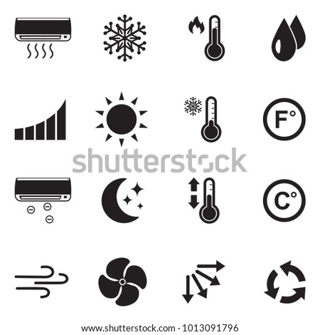 Air Conditioning Icons. Black Flat Design. Vector Illustration.
