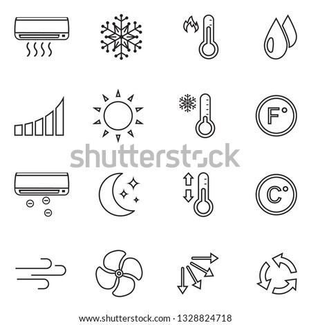 Air Conditioning Icons. Thin Line Design. Vector Illustration.