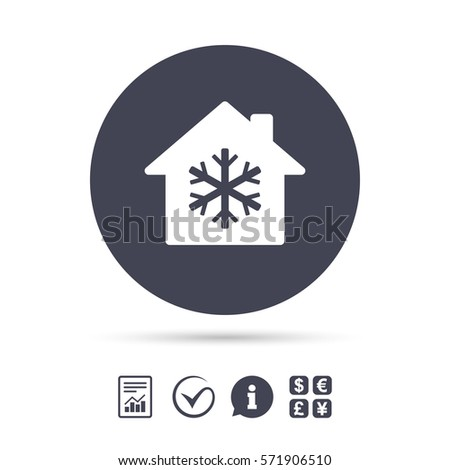 Air conditioning indoors icon. Snowflake sign. Report document, information and check tick icons. Currency exchange. Vector