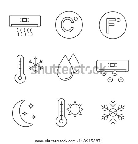 Air conditioning linear icons set. Conditioner, Celsius, Fahrenheit, winter and summer temperature, water drop, ionizer, night mode, snowflake. Isolated vector outline illustrations. Editable stroke