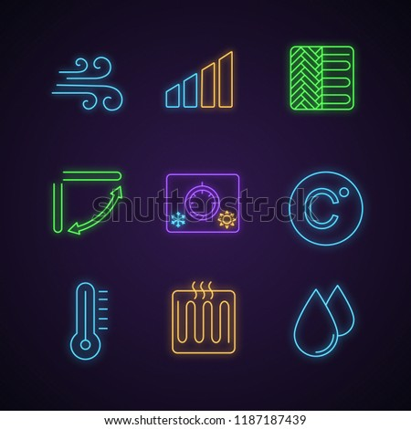 Air conditioning neon light icons set. Airflow, power level, floor heating, louver, climate control knob, Celsius, thermometer, heater, humidification. Glowing signs. Vector isolated illustrations
